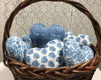 Basket of hearts, blue hearts, valentine decor
