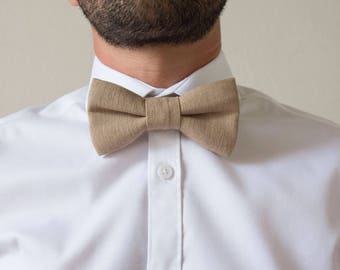 Adjustable thick beige cotton adult bowtie / bow tie