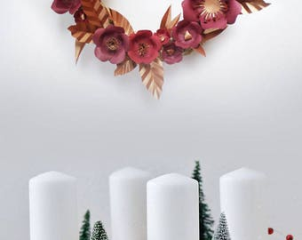 Christmas decoration: Crown - paper flowers