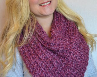 Howard Cowl in Wild Strawberry Triangle 3 Way Knitted Cowl Scarf
