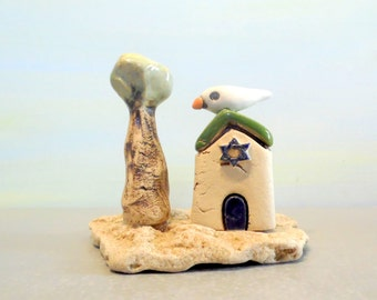 Hanukkah gift Ceramic sculpture house Star of David, White house made in Israel , Israeli art urban sculpture White home decor , Jewish gift