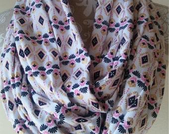 Tribal Print Infinity scarf, Boho scarf, womens scarves, cotton knit scarf, southwestern, warm winter scarf, metallic print scarf, gift