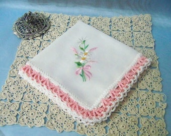 Crochet handkerchief, Hanky, Hankie, Hand Crochet, lace, Pink, Daisies, Girls, Pastel, Floral, Personalized, Embroidered, Ready to ship