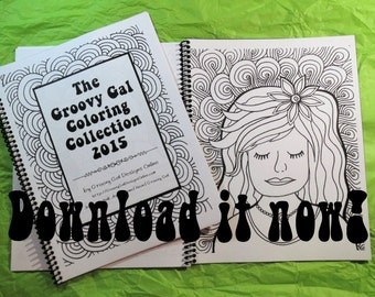 The Groovy Gal Coloring Collection 2015 Set One 20 page Instant Download Zentangle Style Coloring Book