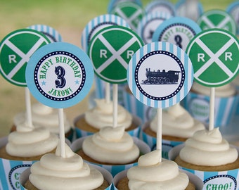 Train Birthday Cupcake Toppers - Green & Aqua - Customized DIY Printable PDF File