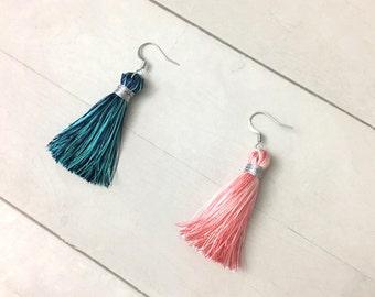Colorful tassel earrings, tassel dangle earrings, long silk tassel earrings, tassel drop earrings. bridesmaid gift, unique gift for her