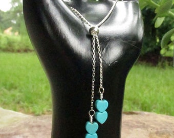 Sterling Silver Heart Bolo, Turquoise Howlite Heart Charms, Adjustable Tassel Bracelet - Delicate Jewelry Gift for Her