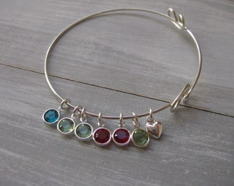 Sterling Silver Adjustable Bangle Bracelet Birthstone Jewelry Mothers Bracelet New Mom Gift Mothers Jewelry Grandmothers Jewelry