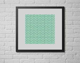 Sea green chevron (cross stitch pattern)