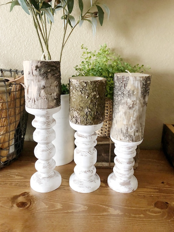 Distressed Set of 3 Hand Turned Candlesticks
