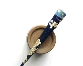 Navy Blue Cherry Blossoms Sakura Long Alligator Beak Clip Japanese Concord Clip Silk Kimono Flowers