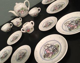 Miniature Bunny Tea Set