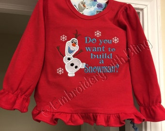 Do you want to build a Snowman - Olaf Long Sleeve Embroidered Shirt
