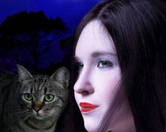 Premade Ebook Cover, Girl With Cat, Exclusive, Includes Minor Customization