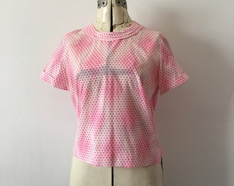 1960's Blouse Pink Polka Dot on White MOD Optic Dot Nylon