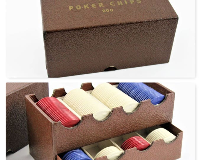 Vintage Peau- Doux Clay Poker Chips and Caddy, Bull Dog Clay Poker Chips