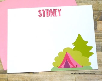 Camp Note Cards - Sleepaway Camp Stationery Cards - Camping Trip Stationary - Notes from Camp - Smores over the Fire Cards DM265