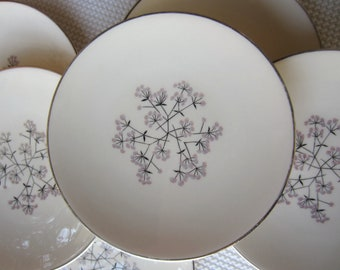 Vintage Dramatic Star Platinum Trim by Classic Fine China Bread and Butter Plates