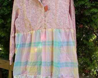 Up-Cycled Dress in Pinks, Greens, Blues and Yellow and White Size Large