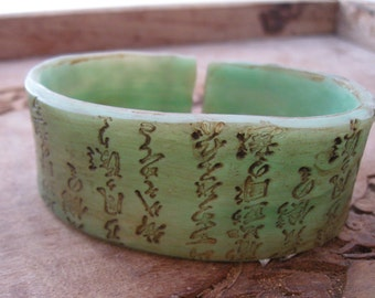 SALE Cuff Bracelet in Jade, Asian Characters Design, Handmade Cuffs by theshagbag on Etsy