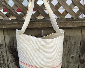 Large Tote with Rainbow Stripe
