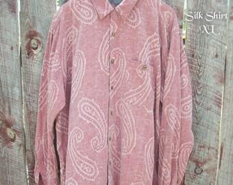 Men Paisley Silk Shirt XL ~ Womans Silk Shirt ~ Vintage Unisex Retro Silk Shirt ~ Long Sleeves ~ Boyfriend Gift ~ Boho Urban Silk Shirt