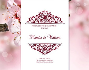 """Wedding Program Template """"Grace"""" Burgundy 8.5 x 11 Foldover Template Order of Service Instant Download ALL Colors Available DIY You Print"""