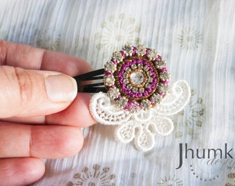 Shveta - 1 Bollywood Applique and Venetian Lace HAIR CLIP by jhumki designs by raindrops