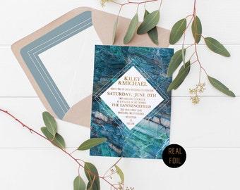 Real Foil Blue Geometric Marble Wedding Invitation Deposit