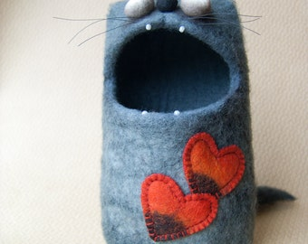 Felt Bowl / Soft Container - Grey Cat Monster