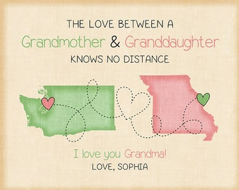 Christmas Gift for Grandma, Grandpa, Grandmother Present, Gift from Granddaughter, First Christmas, Nana, Long Distance maps, Pastel | WF526