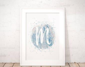 Letter M Monogram Watercolor Brush Strokes Digital Art Print, Silver & Blue Gold Confetti, Instant Wall Art Gift for Her Trendy Room Decor