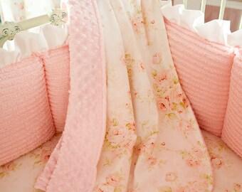 Baby Girl Crib Bedding: Pink Floral Crib Blanket by Carousel Designs