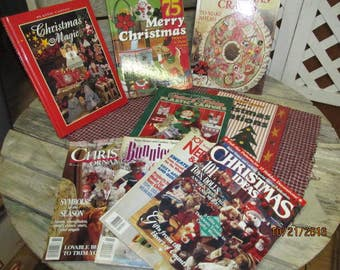 Vintage Assortment Lot 9 Christmas Craft Books Magazines Plastic Canvas Wonder-Under Christmas Magic Better Homes & more