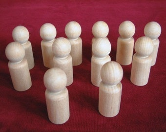 12 No. 5  Large Boy or Man Peg Dolls Unfinished Hardwood