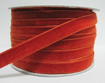 """5 yards 1/2"""" Tangerine Velvet Ribbon, Orange Velvet Ribbon, Ribbon, Ribbon lot, Wholesale Ribbon, Orange Velvet trim, Velvet ribbon"""