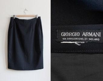 Vintage Giorgio Armani Black Twill Pencil Skirt