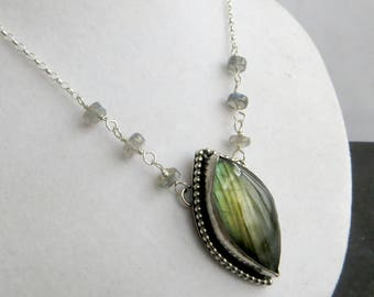 Labradorite Pendant, Silver Labradorite Necklace, Flashy Labradorite Pendant, Green Labradorite, Marquise Labradorite, Silver Jewellery UK