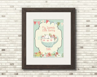 Personalized Easter and Spring Art - Single Bunny in Teacup - 8x10