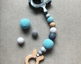 Bébé naturel fait à la main en bois Silicone Crochet anneau de dentition dentition suspendus Pramchain jouet cadeau activité Gym