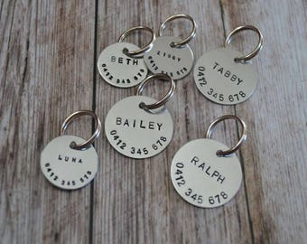 Hand Stamped Dog Tag | Aluminium | Custom Made | Pet ID Tag | Personalized | Dog Collar Name Tag | Dog Tag for Dogs | Aluminium Gift |