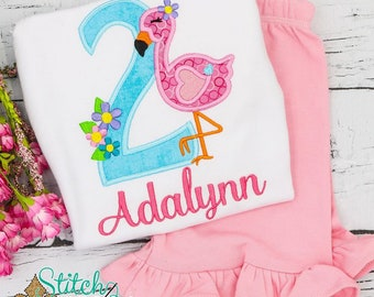 Flamingo Birthday Top and Shorts Set, Flamingo Applique, Flamingo Birthday