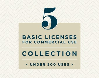 Five Basic Commercial Licenses Bundle // Collection // for commercial use of one collection up to 500 units