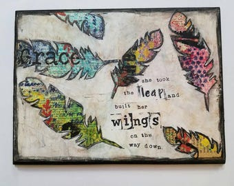 Mixed Media Art Print on Wood,  Feathers & Fly