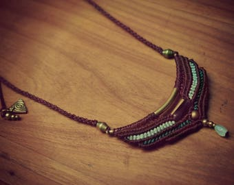 Amethyst and jade macrame necklace and brass beads