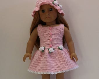 """Instant Download - 18"""" Doll Pattern 1 - Summer Dress and Hat"""
