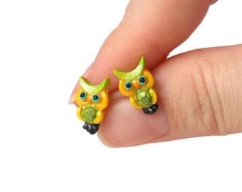 Owl Earrings - Kawaii Stud Earrings - Owl Studs - Yellow Stud Earrings - Green Stud Earrings - Owl Jewelry - Cute Stud Earrings - Bird Studs