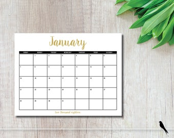 Printable Gold & Black 2018 12 Month Calendar - Home Office Classroom Wall Calendar - Appointment Planner - Instant Download