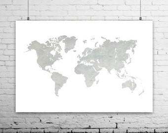 Gold world map art prints gray world map modern home decor gray world map print world map canvas world map art large world map printable world map poster minimalist art map world home decor gumiabroncs Images