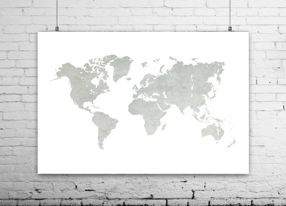 Gray World Map Print World Map Canvas World Map Art Large - Grey world map canvas